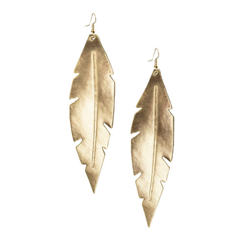 Viaminnet Feathers Grande Gold Mirror Leather Earrings