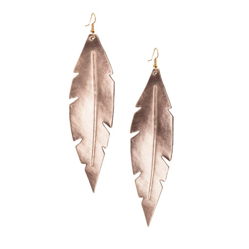 Viaminnet Feathers Grande Rose Gold Mirror Leather Earrings