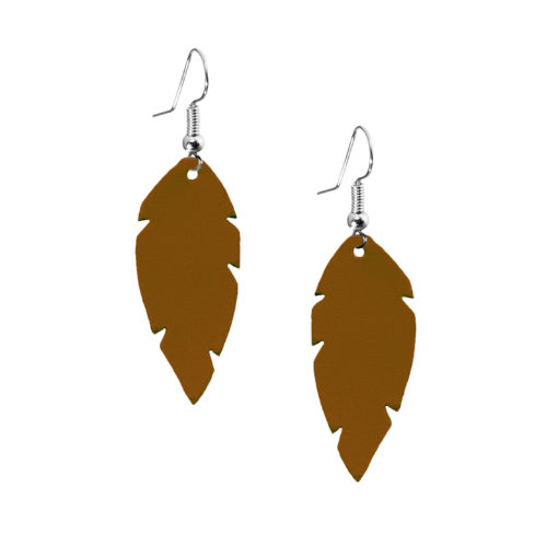 Viaminnet Feathers Petite Brown Leather Earrings