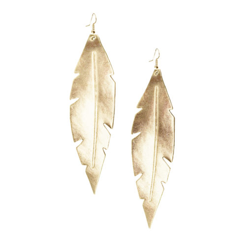 Viaminnet Feathers Grande Mirror Gold Leather Earrings