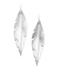 Viaminnet Feathers Grande Mirror Silver Leather Earrings