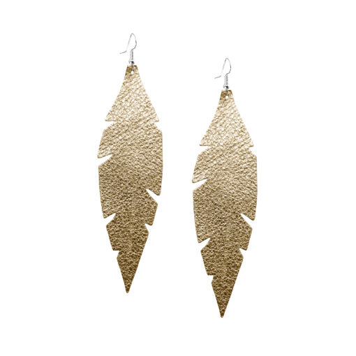 Viaminnet Feathers Grande Foiled Gold Leather Earrings