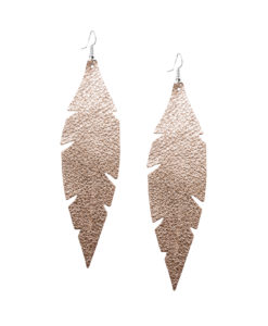 Viaminnet Feathers Grande Foiled Rose Gold Leather Earrings
