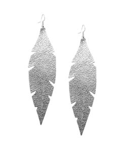 Viaminnet Feathers Grande Foiled Silver Leather Earrings
