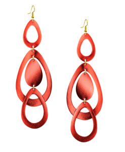 Viaminnet Sade Waterfall Grande Mirror Lingonberry Leather Earrings