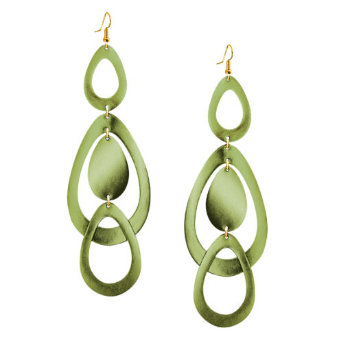 Viaminnet Sade Waterfall Grande Mirror Moss Green Leather Earrings