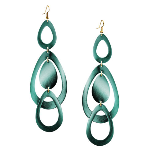 Viaminnet Sade Waterfall Grande Pine Mirror Leather Earrings