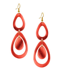 Viaminnet Sade Waterfall Petite Lingonberry Mirror Leather Earrings