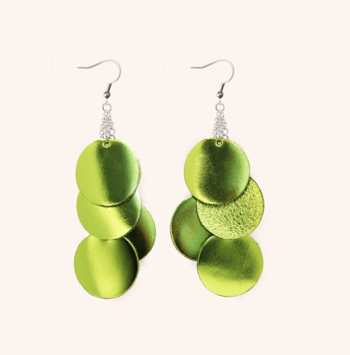 Dance Disco Lime Green Leather Earrings
