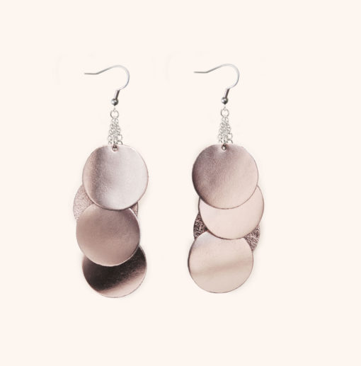 Dance Disco Rose Gold Leather Earrings