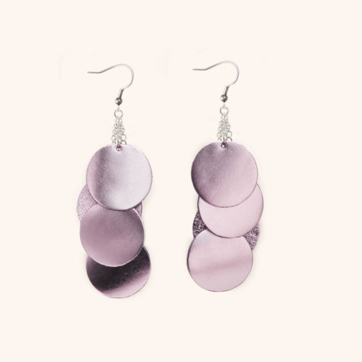 Dance Disco Rose Leather Earrings