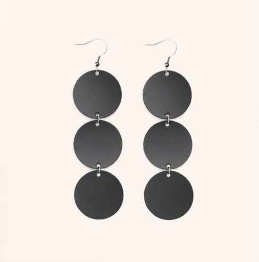 Dance Petite Trio Black Recycled Leather Earrings