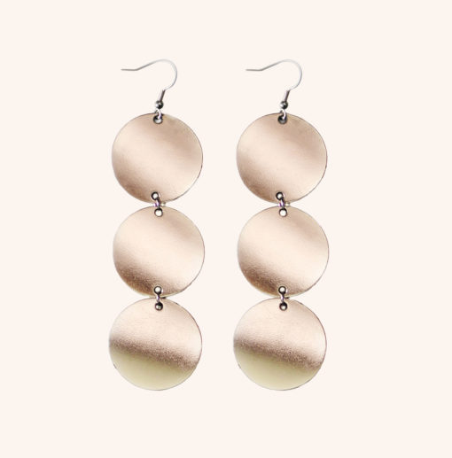 Dance Petite Trio Champagne Leather Earrings