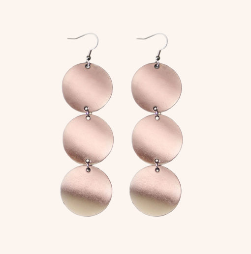 Dance Petite Trio Rose Gold Leather Earrings
