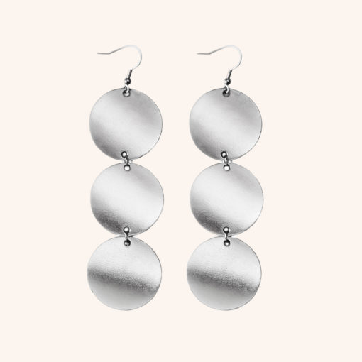 Dance Petite Trio Silver Leather Earrings