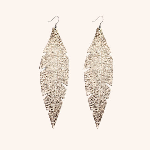 Feather Grande Gold Leather Earrings