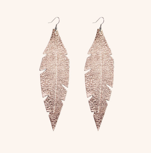 Feather Grande Rose Gold Leather Earrings