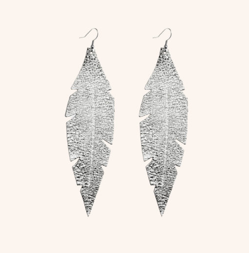 Feather Grande Silver Leather Earrings