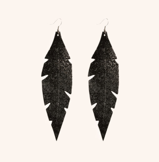 Feather Grande Black Glitter Leather Earrings