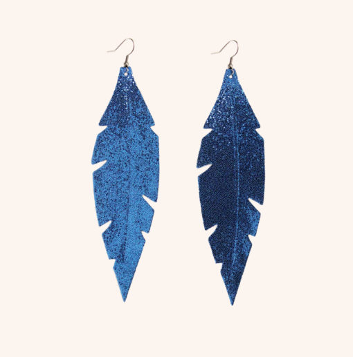 Feather Grande Blue Glitter Leather Earrings