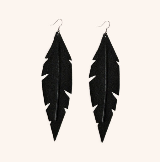 Feather Grande Black Leather Earrings