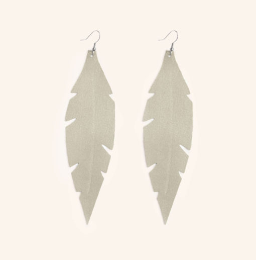 Feather Grande Champagne Leather Earrings