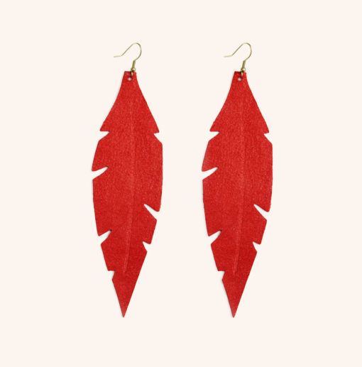 Feather Grande Gold Red Leather Earrings