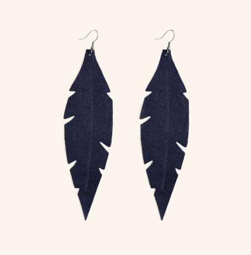 Feather Grande Night Blue Powder Leather Earrings