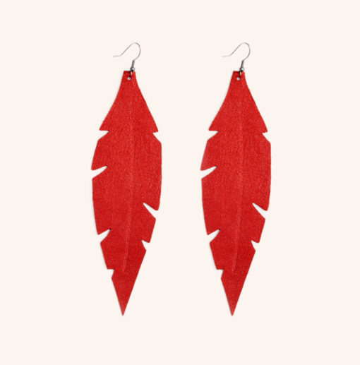 Feather Grande Orange Powder Leather Earrings