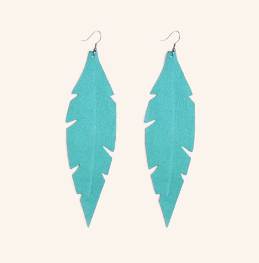 Feather Grande Turquoise Powder Leather Earrings