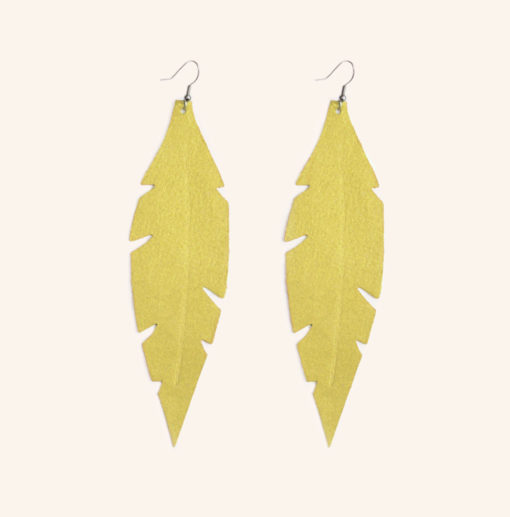 Feather Grande Yellow Powder Leather Earrings