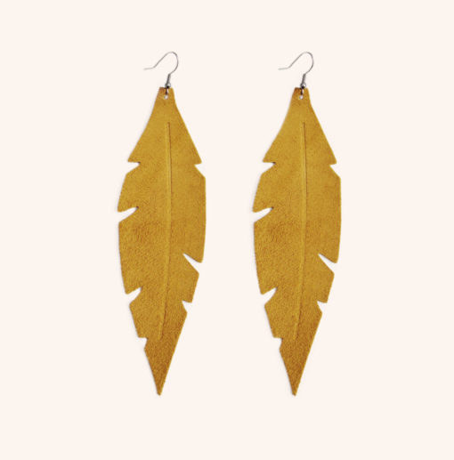 Feathers Grande Ocra Suede Leather Earrings
