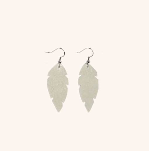 Feathers Petite Champagne Leather Earrings