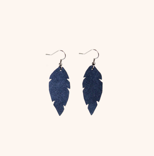 Feathers Petite Night Blue Leather Earrings