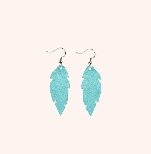 Feathers Petite Turquoise Powder Leather Earrings