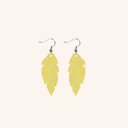 Feathers Petite Yellow Leather Earrings