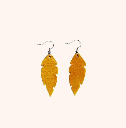 Feathers Petite Ocra Suede Leather Earrings