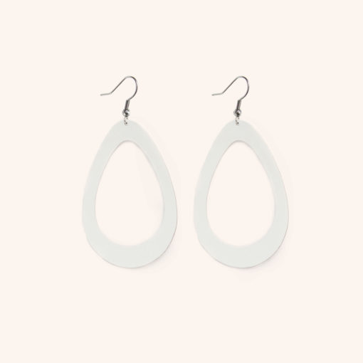Sade Raindrop Grande White Recycled Leather Earrings - Sustainable Fashion Jewellery