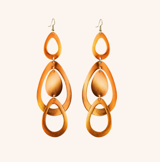 Sade Waterfall Grande Cloudberry Leather Earrings