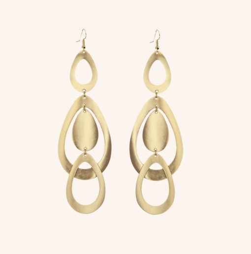 Sade Waterfall Grande Gold Leather Earrings