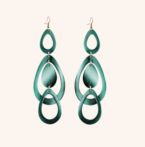 Sade Waterfall Grande Pine Green Leather Earrings