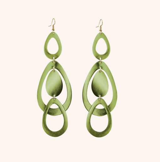 Sade Waterfall Grande Moss Green Leather Earrings