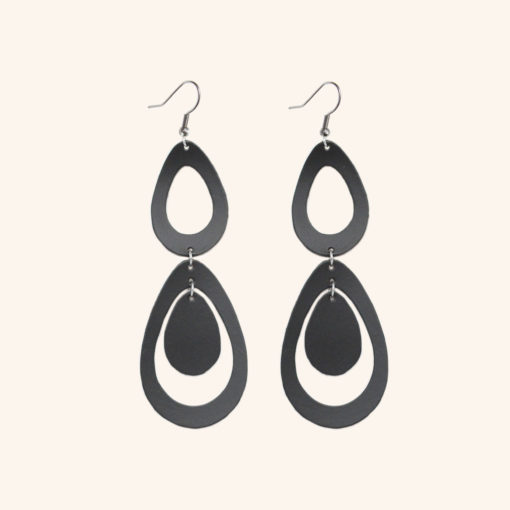 Sade Waterfall Petite Black Recycled Leather Earrings