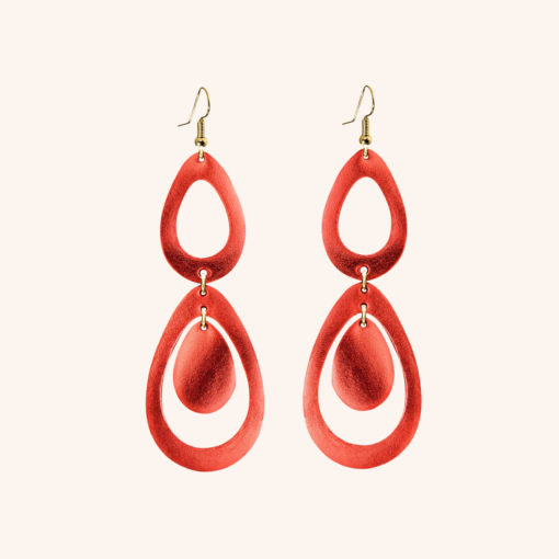 Sade Waterfall Petite Lingonberry Leather Earrings