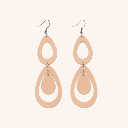 Sade Waterfall Petite Nude Recycled Leather Earrings
