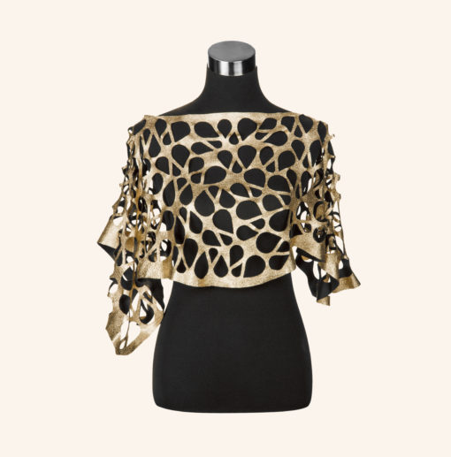 Capelet Gold Black Leather
