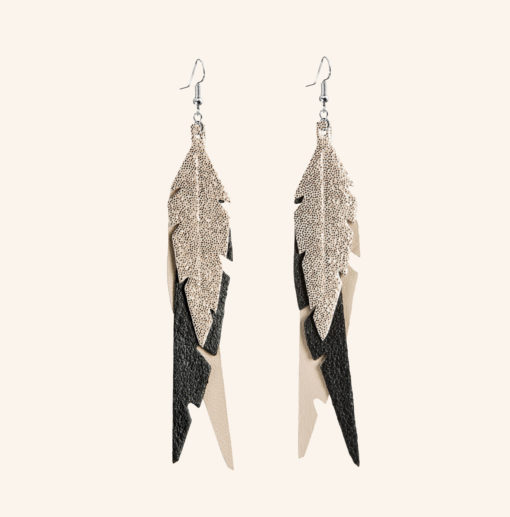Feathers Fab Champagne Leather Earrings