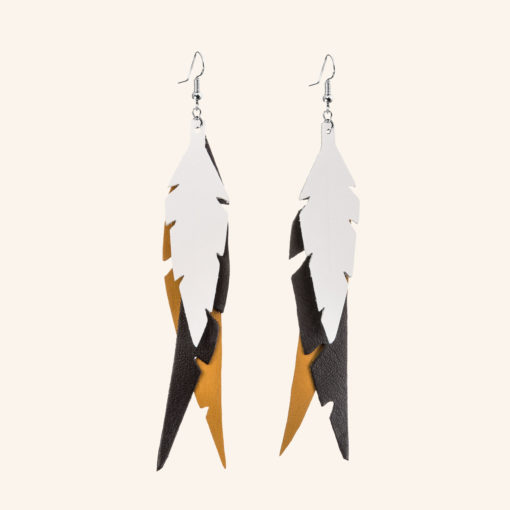 Feathers Fab Leather Earrings
