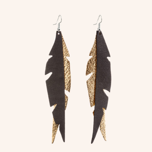 Feathers Glam Gold Black Leather Earrings