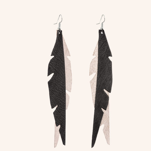 Feathers Glam Champagne Black Leather Earrings